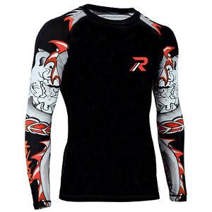 Koyes MMA Rash Guard BJJ Long Sleeve Compression Fight Gear Shirt No Gi