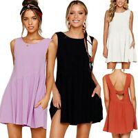 Womens Sleeveless Crew Neck Blackless Summer Beach Casual Ladies Mini Sun Dress