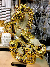 Large ITALIAN Gold Chrome Horse WITH FOAL HOME DECOR ORNAMENT 25CM_NEW GIFT_UKFS