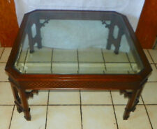 Mahogany Chinese Chippendale Glass Top Coffee Table  (CT166)