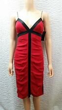 New Womens Nicole Miller New York Red Black Ruched Crinkle Silk Short Dress 2