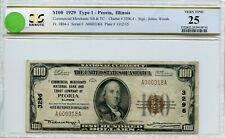"FR1804-1 CH #3296.4 $100 1929 FRBN ""PEORIA, IL"" PCGS 25 VF (#49a DFP 7/17/20)"
