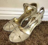 NINA Dilsey Gold Winter Sparkle Metallic Leather Peep Toe Heels Shoes 8.5 M EUC