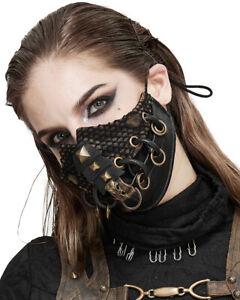 Devil Fashion Womens Dieselpunk Mouthguard Face Mask Brown Black Studs Goth Punk