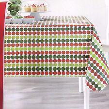 Christmas Polka Dot Vinyl Tablecloth Rectangle 52 X 70 Red Green Holiday  Time