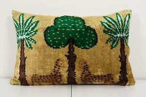 Tiger Design Ikat Velvet Pillow,  Silk Lumbar Cushion Cover