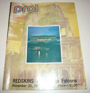 Washington Redskins Atlanta Falcons Pro! 11/20/72 Program 1972 detached cover