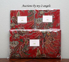 NEW Pottery Barn ADELA VELVET Print Paisley King Duvet+2 Shams Set RED Christmas