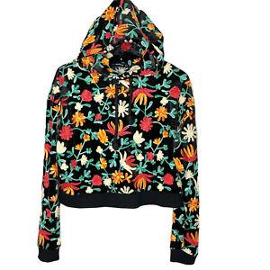 ZARA embroidered velour velvet hoodie sweatshirt size medium black floral