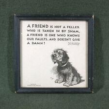 antique framed Motto Print Airedale Terrier Puppy dog Buzza Cecil Aldin art