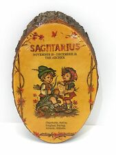 Vintage Zodiac Sagittarius Wooden Plaque Evans Wall Mounted Decor The Archer