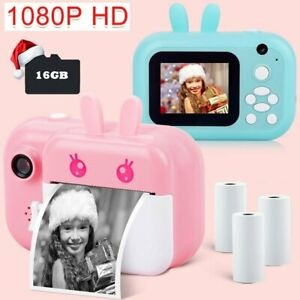 Mini Kids Instant Print Digital Camera Printer Video 1080P + 16GB Card Xmas Gift