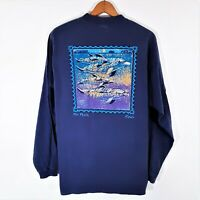 Vintage 90s Crazy Shirts Kona Hawaii USA Dolphin LS T Shirt 1990s Surf Nature XL