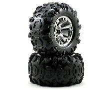 Traxxas Geode Chrome Wheels, Canyon Tires (2) Summit REVO MAXX 17MM HEX TRA5673