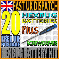 20 x BATTERY FOR HEXBUG NANO, INCHWORM, CRAB, HEX BUG + SCREWDRIVER KIT