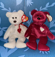 MADE 4 EACH OTHER TY Beanie Baby Valentino (Brown Nose) & Valentina VALENTINES