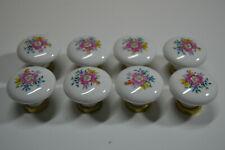 Lote de 8 Tiradores de Porcelana - Flores Vintage