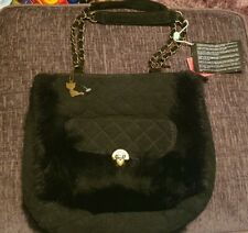 LOLLIPOPS Womens Ladies Hobo Shoulder Bag Tote Black with Fur Made in Italy