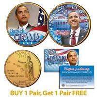 BARACK OBAMA Inauguration Hawaii State Quarters 2-Coin Set 24K Gold Plated BOGO
