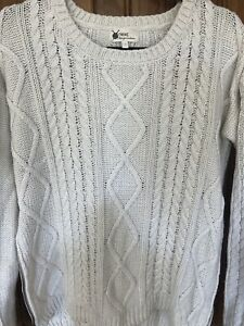 NEXT Cream CABLE THICK KNIT JUMPER WITH ZIP SIDES Detail SIZE 14