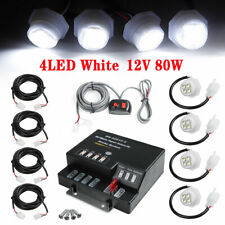 80W 4 LED Bulb Hide Away Emergency Warning Flash Strobe Light System Kit White