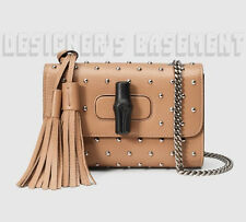 GUCCI beige Leather MISS BAMBOO Tassels MINI chain Studded bag NWT Authent $1400