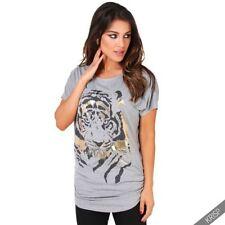 Animal Print Short Sleeve Tunic Regular Size Tops for Women