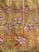 VINTAGE 1970's HIBISCUS PRINT YELLOW AND ORANGE FLORAL FABRIC 1 Yd + TAHITI