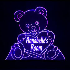 Bear Cute Personalised Name Colour Change Lamp Childrens - Baby Room Night Light