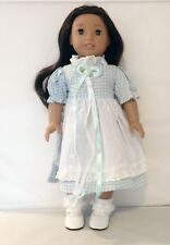 """Blue Gingham Dress w/ White Patent Mary Jane Shoes Fits 18"""" American Girl Dolls"""