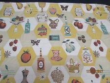 "Vintage Barkcloth Curtain Panel, Kitchen Pattern 36"" x 19"", Great Condition"
