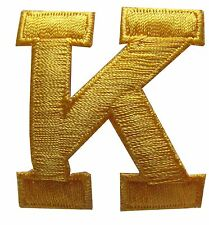 """1-3/4"""" Yellow Letter """"K"""" Embroidery Iron On Applique Patch"""