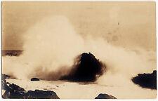 1917-1930 RPPC USA Breaking Wave on Rocks Sea Ocean Surf Old Real Photo Postcard