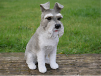 Resin Dog Schnauzer Sculpture Garden Ornament Patio Figurine Outdoor Animal