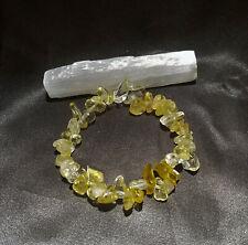 Natural CITRINE Chip Stretch Bracelet + Selenite Wand, Blessed, Magical, Reiki!