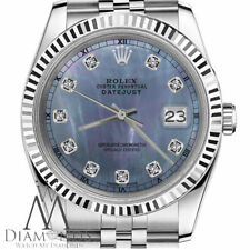 Ladies Size Rolex 31mm Datejust Blue Tahitian MOP Mother of Pearl Diamond Dial
