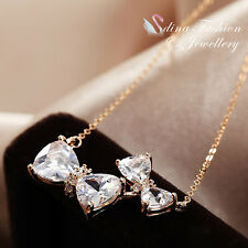 18K Rose Gold Plated CZ Exquisite Shiny Double Bow-Knot Statement Necklace