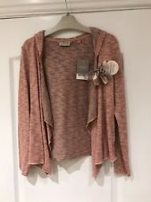 Next Girls Pink Drape Front Hooded Cardigan With Detachable Corsage. Age 10 New