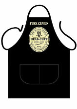 """UNISEX BLACK PRINTED NOVELTY APRON,FOR GUINNESS LOVERS AT BBQ,""""PURE GENIUS"""""""