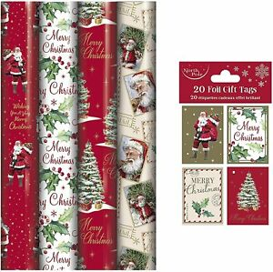 5M Christmas Wrapping Paper Rolls With 20 Matching Gift Tag - Pack of 4