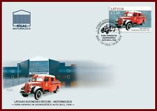 fire truck / LATVIA 2019 old car  history automobile 1938 FORD - VAIROGS V8  FDC