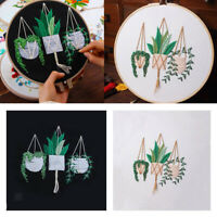 Embroidery Starter Kits Plants Pattern for Beginners DIY Cross Stitch Crafts