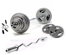 "65KG Olympic Barbell & EZ Curl Bar Tri-Grip Plate Set, 2"" Weight Discs 7ft 2 Bar"