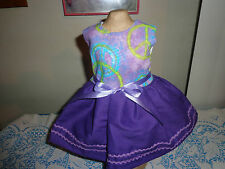 doll clothes dress for 18 inch american girl colorful peace sign rick rack 100