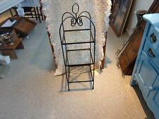 """36"""" Black wrought iron display stand w/glass shelves 3-tiered twisted iron metal"""