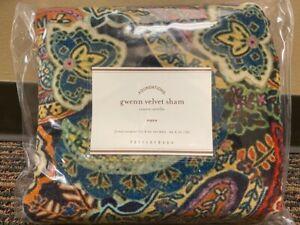 """NEW Pottery Barn Gwenn Paisley Velvet Pillow Sham Cover 26"""" Euro or Standard NWT"""