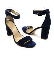 ANN TAYLOR Size 9 Navy Blue Suede Block Heel Ankle Strap High Heel Sandals