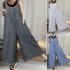 Women Ladies Check Dungarees Jumpsuit Overalls Casual Baggy Trousers Playsuit AU
