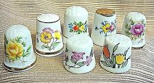 7 VINTAGE Porcelain & Bone China THIMBLES w/Colorful Flowers - Japan & Taiwan