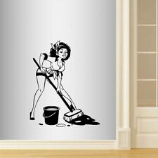 Vinyl Decal Sexy Maid Housekeeper Cleaning Lady Woman Wall Art Sticker 1779